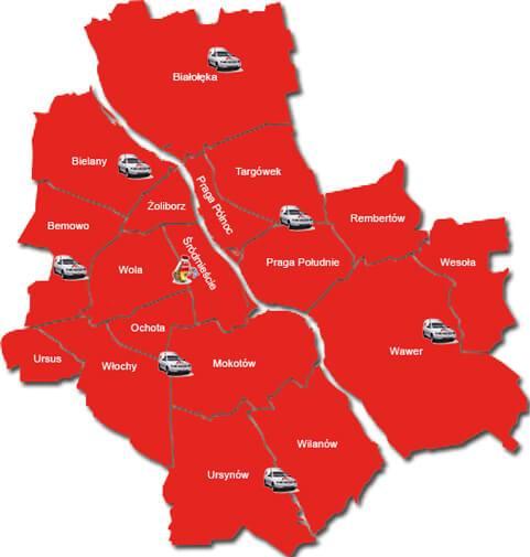 Pogotowie zamkowe - mapa zasięgu wykonywania usług